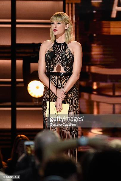 Taylor Swift speaks onstage at the 50th annual CMA Awards at the Bridgestone Arena on November 2 2016 in Nashville Tennessee