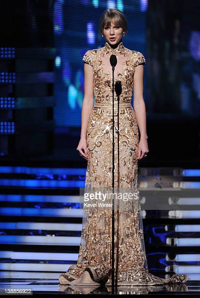 Taylor Swift speaks onstage at the 54th Annual GRAMMY Awards held at Staples Center on February 12 2012 in Los Angeles California