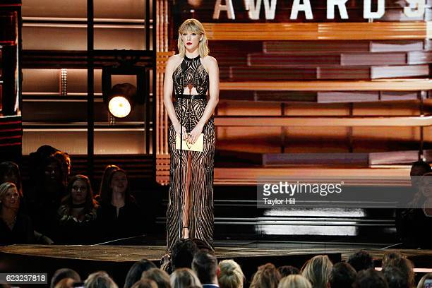 Taylor Swift speaks onstage during the 50th annual CMA Awards at the Bridgestone Arena on November 2 2016 in Nashville Tennessee