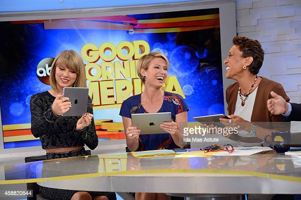 """Taylor Swift talks about her new """"app"""" on GOOD MORNING AMERICA, 11/11/14, airing on the Walt Disney Television via Getty Images Television Network."""