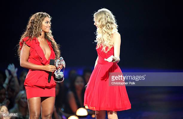 Taylor Swift talks to Beyonce after she allowed her to finish her speech that was cut short by Kanye West after Beyonce won Best Video of the Year...