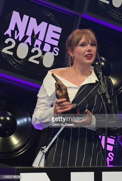 Taylor Swift winner of the award for Best Solo Act In The World attends The NME Awards 2020 at the O2 Academy Brixton on February 12 2020 in London...