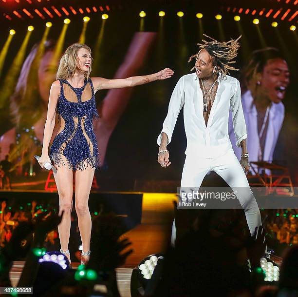 Taylor Swift with special guest Wiz Khalifa during the Taylor Swift The 1989 World Tour Live In Houston at Minute Maid Park on September 9 2015 in...