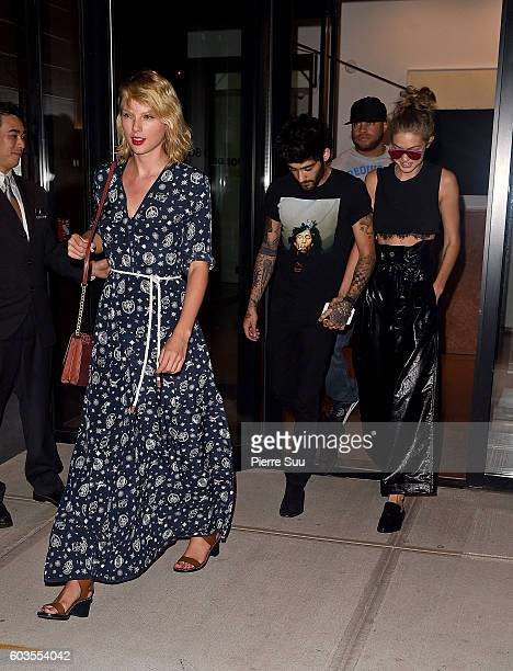 Taylor SwiftGigi Hadid and Zayn Malik are coming out of Gigi Hadid's apartment on September 12 2016 in New York City