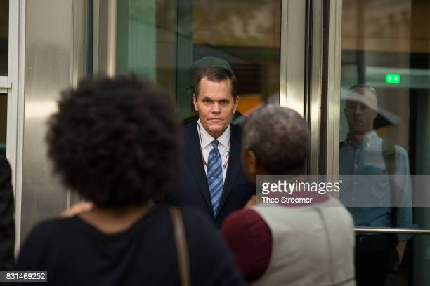 Taylor Swift's attorney J Douglas Baldridge emerges following the verdict of the civil case of Taylor Swift vs David Mueller at the Alfred A Arraj...