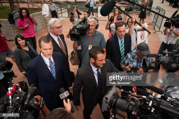 Taylor Swift's attorney J Douglas Baldridge speaks to the media following the verdict of the civil case of Taylor Swift vs David Mueller at the...