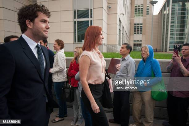 Taylor Swift's publicist Tree Paine and brother Austin Swift arrive for the civil case for Taylor Swift vs David Mueller at the Alfred A Arraj...