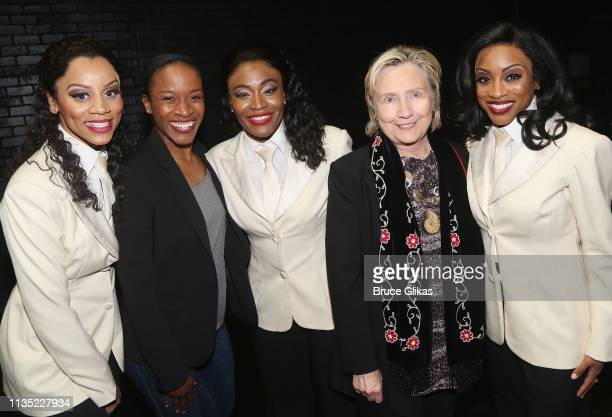 """Taylor Symone Jackson, Esther Antoine, Nasia Thomas, Hillary Clinton and Candice Marie Woods pose backstage at the hit musical """"Ain't Too Proud To..."""