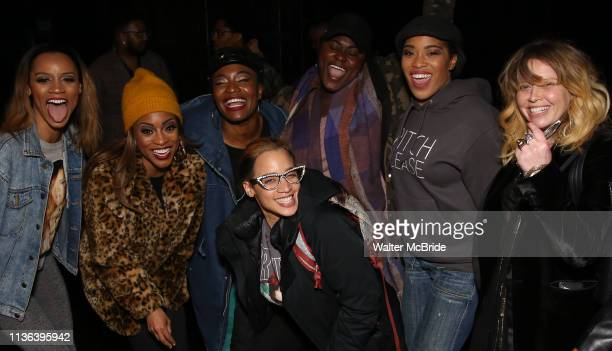 Taylor Symone Jackson Marie Woods Nasia Thomas Danielle Brooks Dascha Polanco Rashidra Scott Natasha Lyonne backstage after a performance of Ain't...