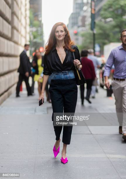 Taylor Tomasi Hill wearing denim jeans under pants seen in the streets of Manhattan outside Gabriela Hearst during New York Fashion Week on September...