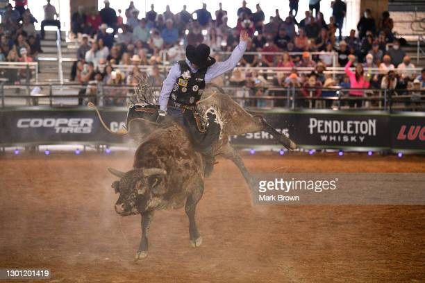 Taylor Toves rides Ponotoc during the PBR Unleash The Beast bull riding event at Okeechobee Agri-Civic Center on January 31, 2021 in Okeechobee,...