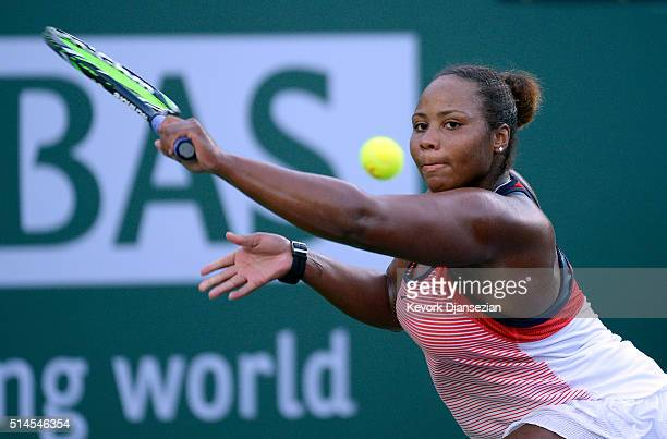 Taylor Townsend of the United States hits a backhand against Vania King of the United States during day three of the BNP Paribas Open at Indian Wells...