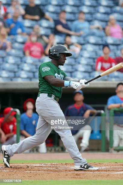 Taylor Trammell of the Tortugas at bat during the Florida State League game between the Daytona Tortugas and the Clearwater Threshers on July 17 at...