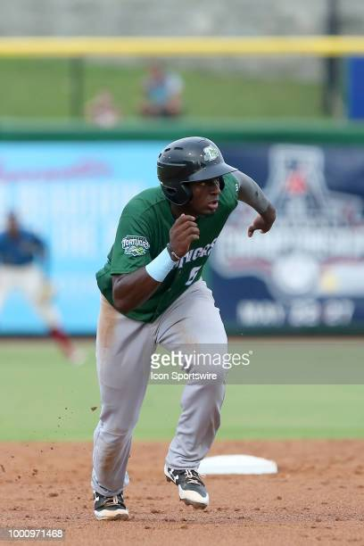 Taylor Trammell of the Tortugas hustles over to third base during the Florida State League game between the Daytona Tortugas and the Clearwater...