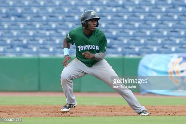 Taylor Trammell of the Tortugas takes off for second base during the Florida State League game between the Daytona Tortugas and the Clearwater...