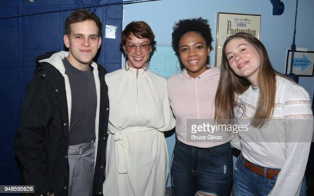 Taylor Trensch Alanis Morissette Phoenix Best and Laura Dreyfuss pose backstage at the hit musical 'Dear Evan Hansen' on Broadway at The Music Box...
