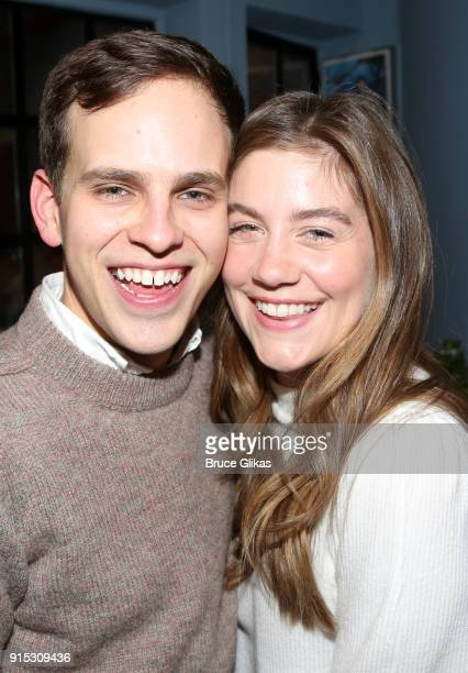 Taylor Trensch and Laura Dreyfuss pose backstage as Taylor Trensch joins the cast of 'Dear Evan Hansen' on Broadway at The Music Box Theatre on...