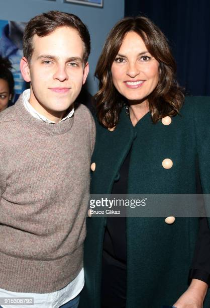 Taylor Trensch and Mariska Hargitay pose backstage as Taylor Trensch joins the cast of 'Dear Evan Hansen' on Broadway at The Music Box Theatre on...