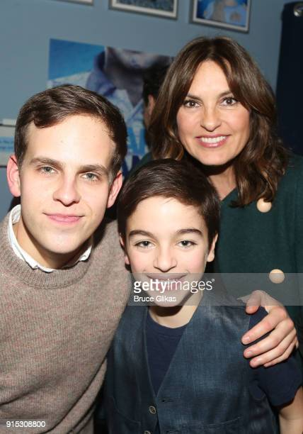 Taylor Trensch August Hermann and mother Mariska Hargitay pose backstage as Taylor Trensch joins the cast of 'Dear Evan Hansen' on Broadway at The...