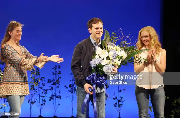 Taylor Trensch takes his first curtain call as he joins the cast of 'Dear Evan Hansen' on Broadway at The Music Box Theatre on February 6 2018 in New...
