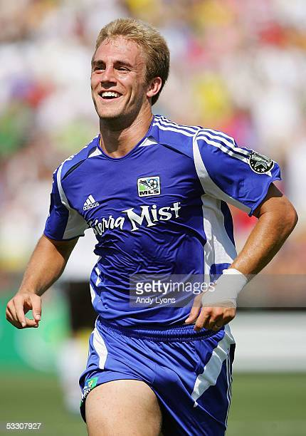 Taylor Twellman of the MLS AllStars celebrates his goal against Fulham FC in the first half during the 2005 MLS AllStar game at Crew Stadium on July...