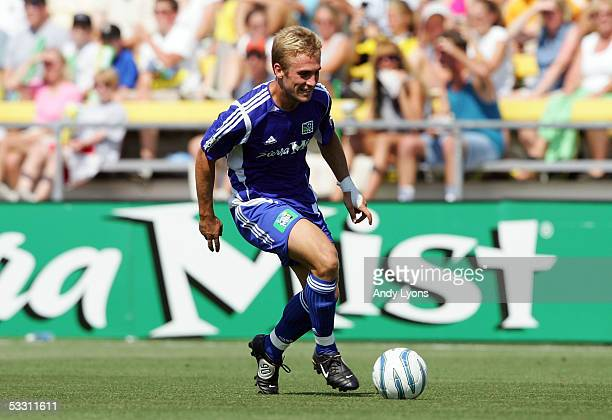 Taylor Twellman of the MLS AllStars looks to create a scoring opportunity against Fulham FC during the 2005 MLS AllStar game Crew Stadium on July 30...
