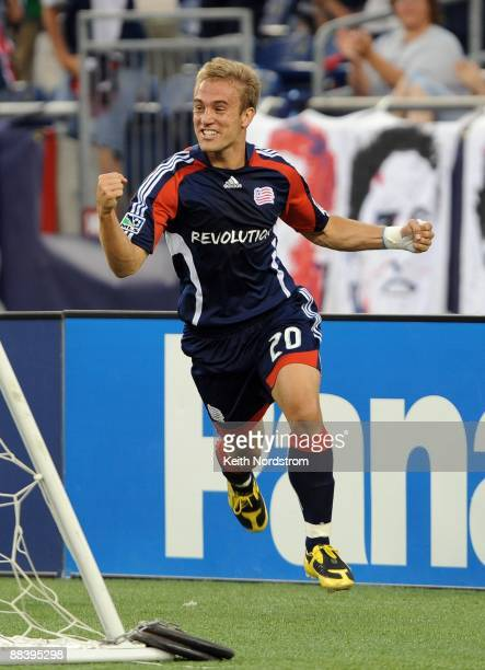 Taylor Twellman of the New England Revolution reacts to scoring his 100th career goal during match against the New York Red Bulls June 7 2009 at...