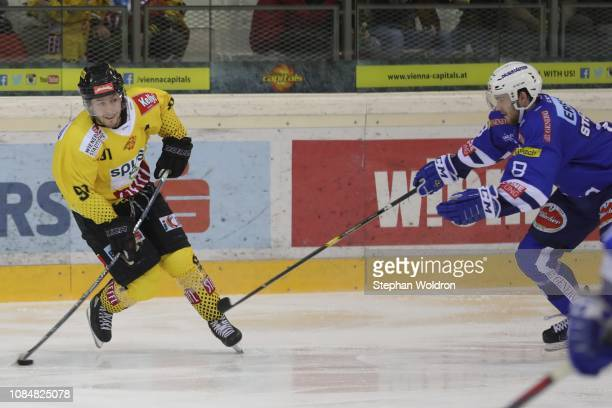 Taylor Vause of Vienna and Patrick Stueckler of Villach during the Vienna Capitals v EC VSV Erste Bank Eishockey Liga at Erste Bank Arena on January...
