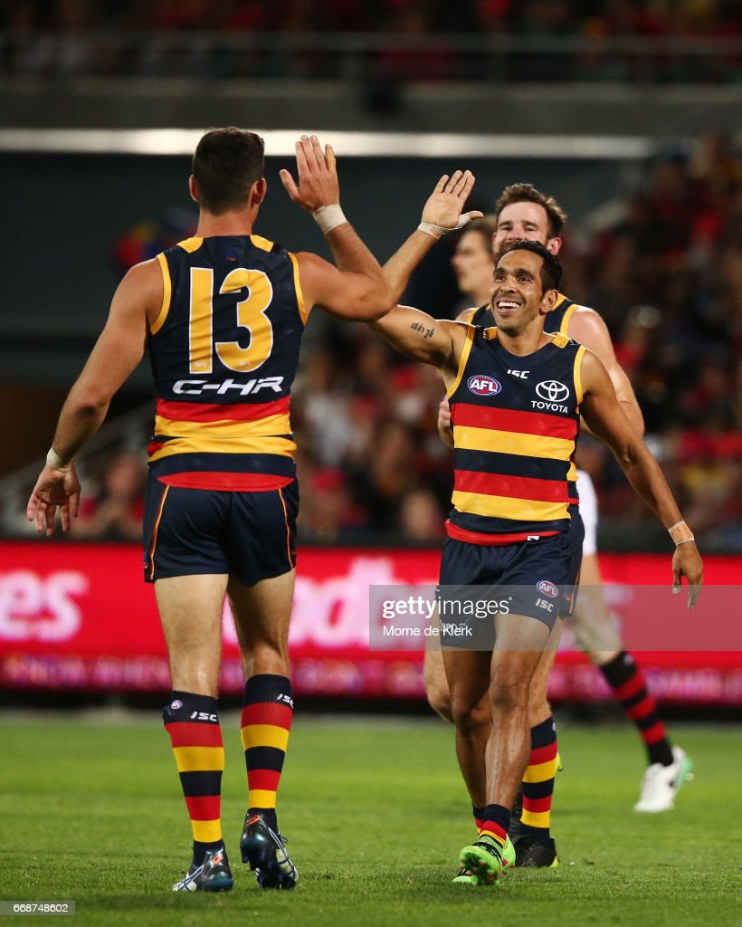 Taylor Walker and Eddie Betts of the Crows celebrate a goal during the round four AFL match between the Adelaide Crows and the Essendon Bombers at Adelaide Oval on April 15, 2017 in Adelaide, Australia.