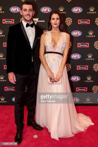 Taylor Walker and Ellie Brown attends 2018 Brownlow Medal at Crown Entertainment Complex on September 24 2018 in Melbourne Australia