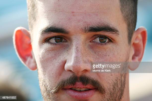 Taylor Walker Captain of the Crows looks on during an Adelaide Crows AFL training session at AAMI Stadium on September 11 2015 in Adelaide Australia