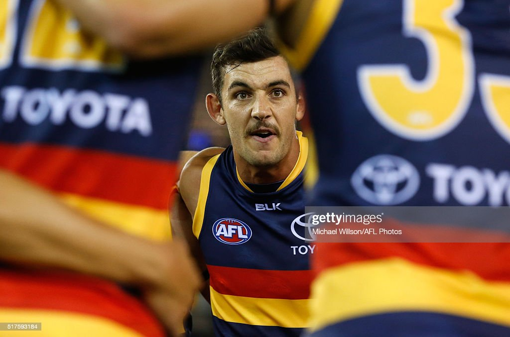 Taylor Walker of the Crows addresses his players during the 2016 AFL Round 01 match between the North Melbourne Kangaroos and the Adelaide Crows at Etihad Stadium, Melbourne on March 26, 2016.
