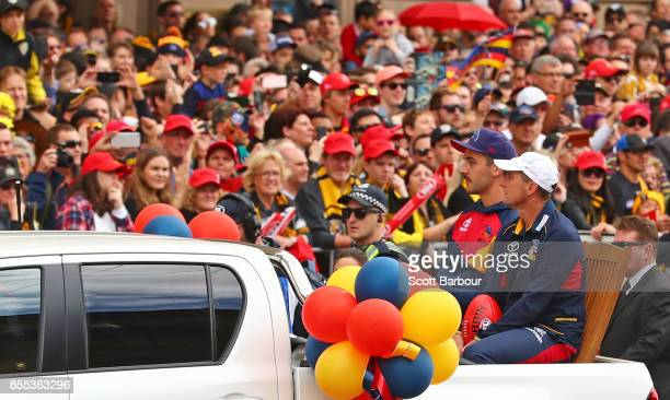 Taylor Walker of the Crows and Don Pyke coach of the Crows look on during the 2017 AFL Grand Final Parade on September 29 2017 in Melbourne Australia