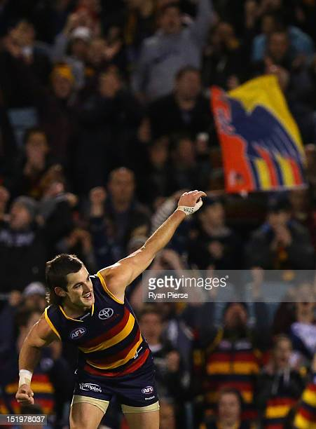 Taylor Walker of the Crows celebrates after kicking a goal during the AFL Second Semi Final match between the Adelaide Crows and the Fremantle...