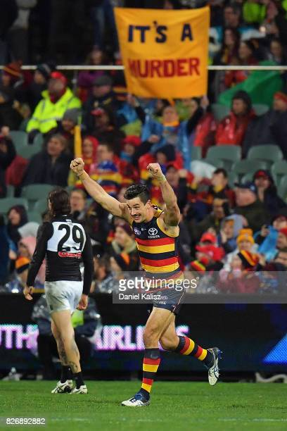 Taylor Walker of the Crows celebrates after kicking a goal during the round 20 AFL match between the Adelaide Crows and the Port Adelaide Power at...