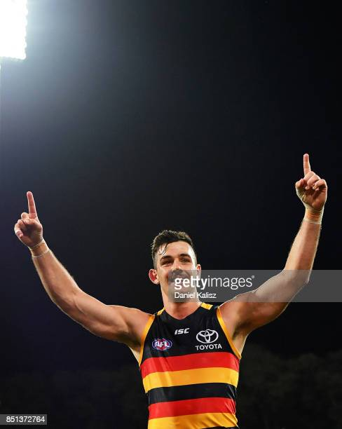 Taylor Walker of the Crows celebrates after kicking a goal during the First AFL Preliminary Final match between the Adelaide Crows and the Geelong...