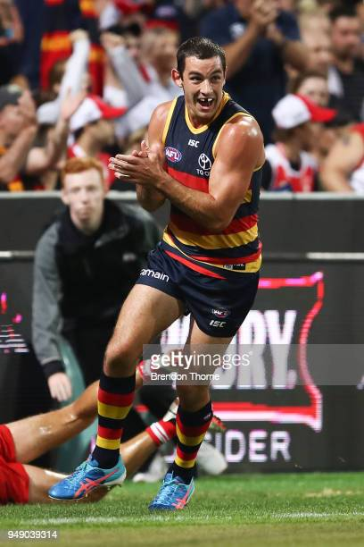 Taylor Walker of the Crows celebrates kicking a goal during the round five AFL match between the Sydney Swans and the Adelaide Crows at Sydney...