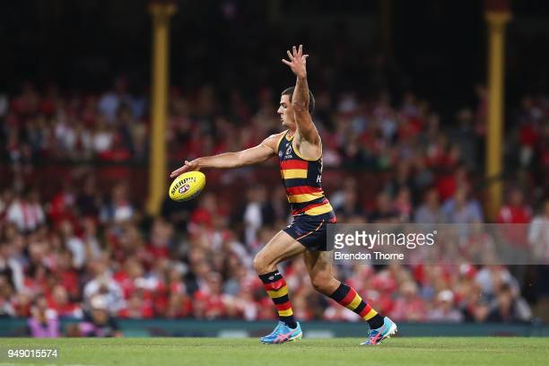 Taylor Walker of the Crows kicks during the round five AFL match between the Sydney Swans and the Adelaide Crows at Sydney Cricket Ground on April 20...