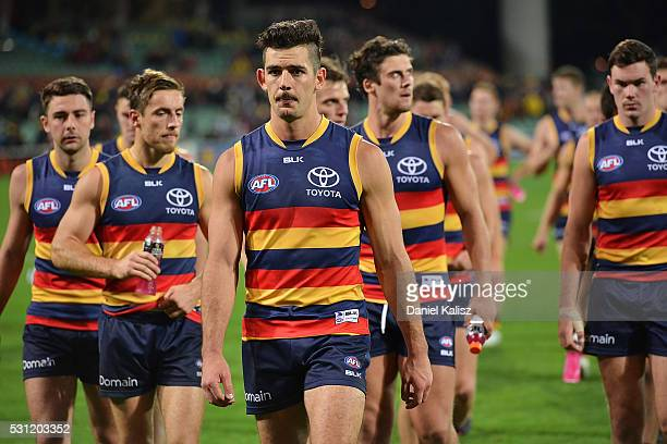 Taylor Walker of the Crows leads his players off the field after the round eight AFL match between the Adelaide Crows and the Geelong Cats at...