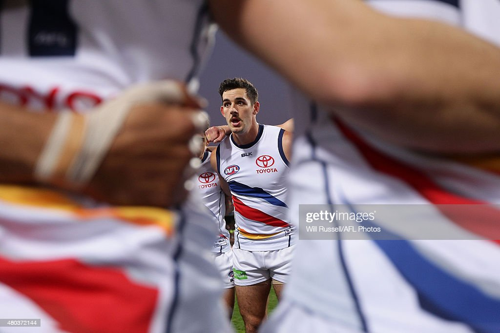 Taylor Walker of the Crows speaks to the huddle at the start of the game during the round 15 AFL match between the West Coast Eagles and the Adelaide Crows at Domain Stadium on July 11, 2015 in Perth, Australia.