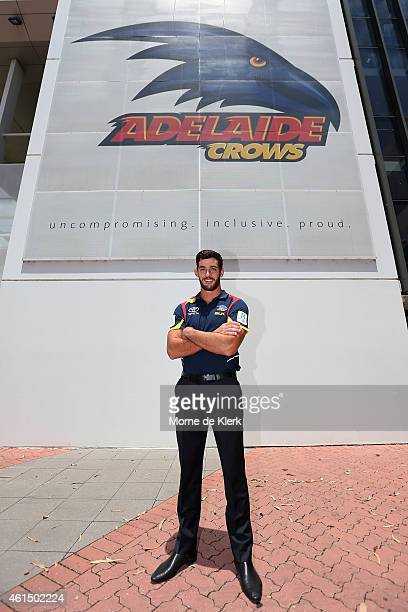Taylor Walker poses for a photograph after being named the new Crows Captain after an Adelaide Crows AFL preseason training session at Max Basheer...