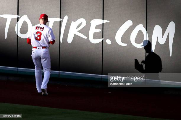 Taylor Ward of the Los Angeles Angels looks on in the outfield during the first inning against the Kansas City Royals at Angel Stadium of Anaheim on...