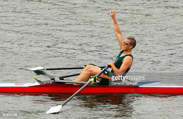 Taylor Wilczynski of Tasmania celebrates winning the mens single scull final during day four of the Australian Youth Olympic Festival at the Sydney...