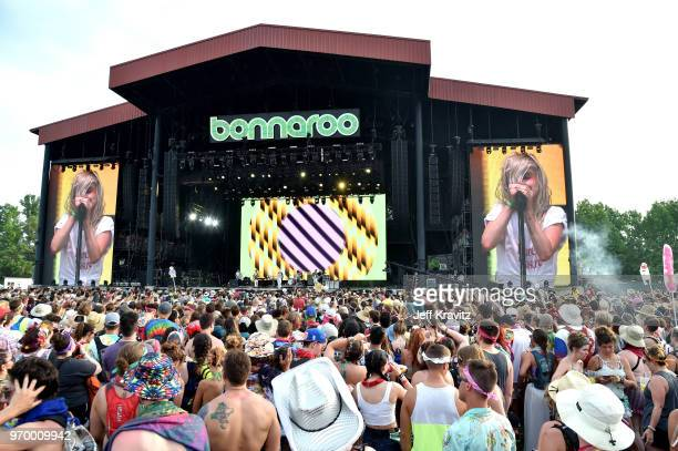 Taylor York, Hayley Williams, and Zac Farr of Paramore perform on What Stage during day 2 of the 2018 Bonnaroo Arts And Music Festival on June 8,...