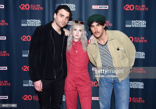 Taylor York, Hayley Williams, and Zac Farro of Paramore attend Live Nation's celebration of the 4th annual National Concert Week at Live Nation on...
