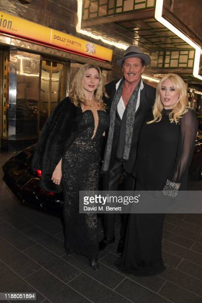 Taylor-Ann Hasselhoff, David Hasselhoff and Hayley Hasselhoff pose with KITT from Knight Rider at the gala party to celebrate David Hasselhoff...