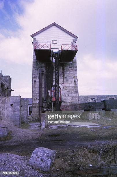 Taylors Shaft Engine House East Pool Tin Mine Cambourne Cornwall 20th century 90inch Beam Pumping Engine in Camborne a town and civil parish in west...