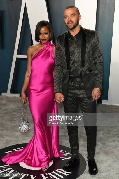 Taylour Paige and Jesse Williams attend the 2020 Vanity Fair Oscar party hosted by Radhika Jones at Wallis Annenberg Center for the Performing Arts...