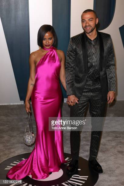 Taylour Paige and Jesse Williams attend the 2020 Vanity Fair Oscar Party at Wallis Annenberg Center for the Performing Arts on February 09 2020 in...