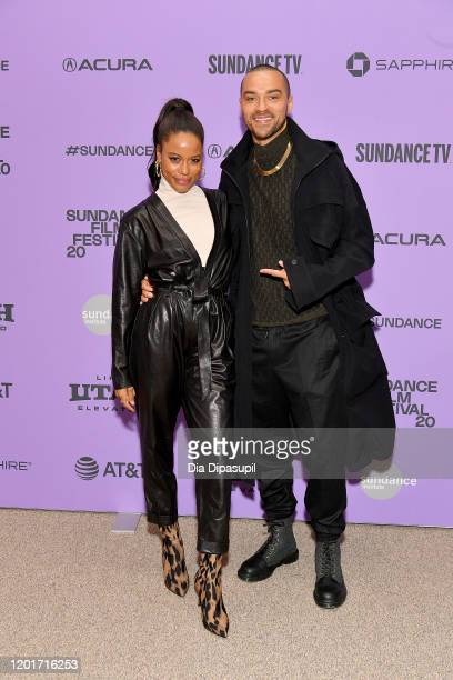 Taylour Paige and Jesse Williams attend the Zola premiere during the 2020 Sundance Film Festival at Eccles Center Theatre on January 24 2020 in Park...